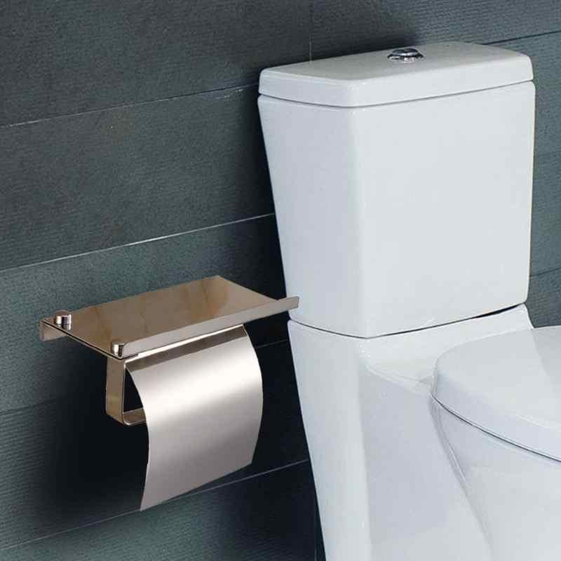 Uchwyt na papier toaletowy ze stali nierdzewnej do montażu na ścianie uchwyt na papier półka na telefon domu produkt łazienkowy