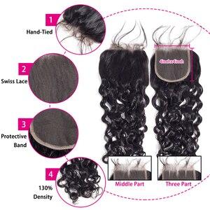 Image 5 - Moxika onda de água pacotes com fecho 3 pçs cabelo brasileiro tecer pacotes com fechamento remy feixes de cabelo humano com fechamento
