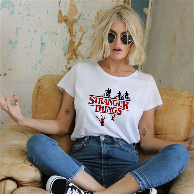 Showtly Stranger Things T Shirt Eleven Women Casual Top Tee Shirts Tshirt T-shirt Female Femme Clothing Harajuku Funny Movie Top