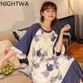 NIGHTWA 2021 на лето и весну для женщин, хлопок, одежда для сна, домашняя ночная рубашка Женская Повседневная Пижама свободная ночная рубашка с ко...