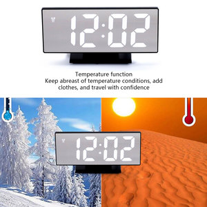 Image 4 - 디지털 알람 시계 LED 미러 시계 다기능 디지털 알람 시계 표시 시간 밤 테이블 데스크탑 Despertador