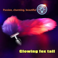 Illuminate Fox Tail Stainless Steel/silicone Detachable Anal Dilator Man/women Buttplug Long Plug Stimulation Sex Toy.
