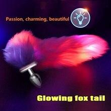 Verlichten Fox Tail Rvs/Siliconen Afneembare Anale Dilatator Man/Vrouwen Buttplug Lange Plug Stimulatie Sex Toy.