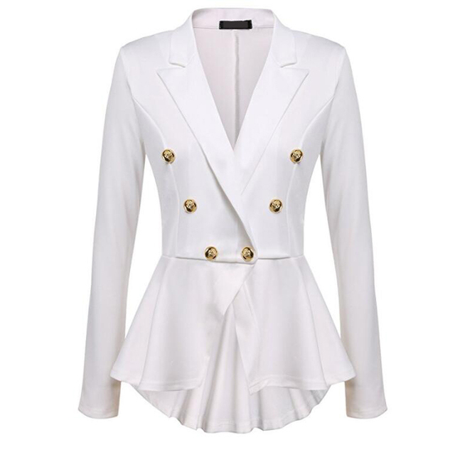 CINESSD Women Blazer Coats Notched Long Sleeves Double Breasted Metal Button Slim Casual Suits Jackets Solid Cotton Lady Blazers 4