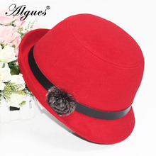 Autumn And Winter Lady Hat Fashion Bowler Hat Spring Trend after Upturned Eaves Woolen Hat Rabbit Hair Ball Felt Cap britain fuzzy ball embellished felt horseman hat