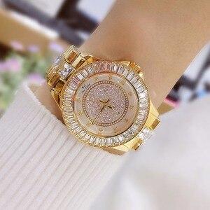Image 4 - Moda izle bayanlar quartz saat elmas kristal lüks kadın taklidi saatler kadın Relojes Para Mujer Horloges Vrouwen