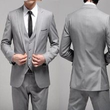 Nuovo Stile Custom Made One Button Slim Fit Light Grey Sposo Smoking Fessura del Lato Groomsmen Uomini WeddingDinner Abiti (Jacket + Pants + Maglia(China)