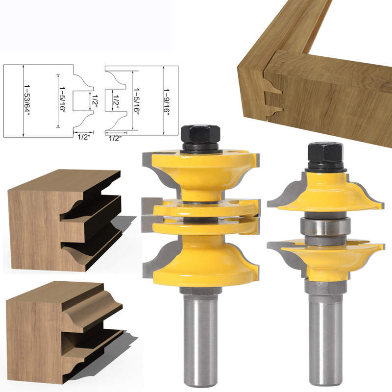 "Stacked Rail /& Stile Router Bit 1//2/"" Shank Ogee Door Frames Woodworking Cutter"