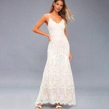 White dress sleeveless sexy deep v- neck elegant suspender lace wedding evening party  maxi dress for holiday