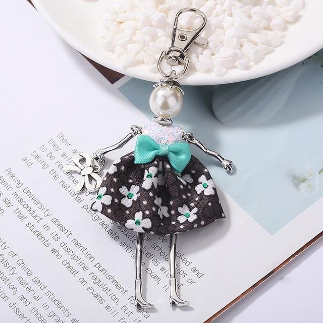 YLWHJJ marka Doll baby Handmade śliczny czarny brelok dla kobiet wisiorek do samochodu gorąca dziewczyna oświadczenie biżuteria hot Bag breloczki