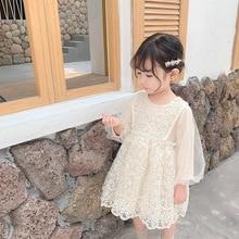 Новое поступление, Осеннее хлопковое платье принцессы в Корейском стиле для вечеринок с длинными рукавами и кружевом, милое платье для маленьких девочек