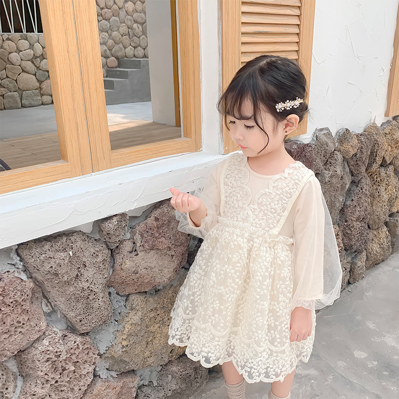 2019 Autumn New Arrival korean style cotton all match princess lace grenadine long sleeve party dress for sweet cute baby girls-in Dresses from Mother & Kids