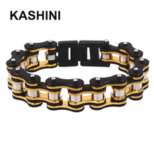 Hot 316L Stainles Steel Punk Bracelets Bicycle Black Gold Color Motorcycle Chain Bracelet Mens Knight Jewelry