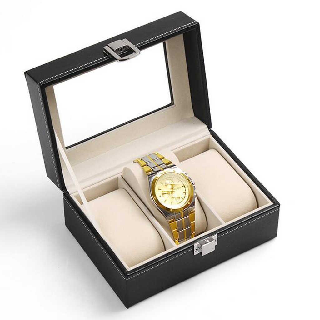 3PU ızgaraları PU deri izle kutusu kasa profesyonel tutucu organizatör saat saatler depolama takı siyah en iyi hediye