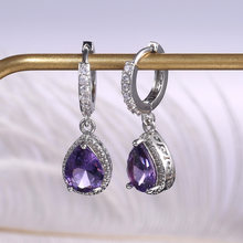 Luxury Female Crystal Purple Stone Earrings Fashion Silver Color Hoop Earrings Vintage Double Earrings For Women