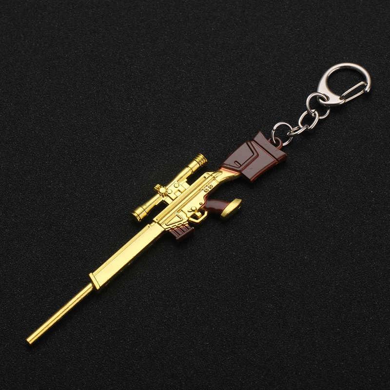 Nuovo PUBG Portachiavi Pan Casco 98K AWM M24 M416 Cosplay Puntelli Anello Chiave Della Lega Armatura Modello di Pistola Pistola di Chiave Dell'automobile anello della catena di Gioco Regalo