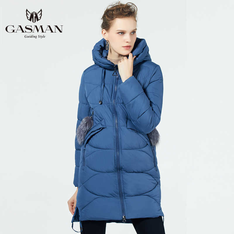 GASMAN 2019 Bio Fluff Coat Medium Length Fashionable Down Jacket  Women 'S hooded Warm Jacket New Winter Collection