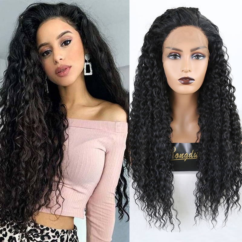 RONGDUOYI Long King Curly Wig Heat Resistant Fiber Hair Synthetic Lace Front Wigs For Women Black Hair Glueless Front Lace Wig