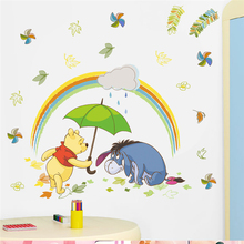 disney winnie pooh wall stickers for kids rooms home decor 40*60cm cartoon animals zoo decals pvc mural art diy posters