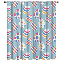 Happy Easter Cartoon Eggs Colorful Room Curtains Large Window Window Curtains Dark Curtain Lights Living Room Bathroom Blackout
