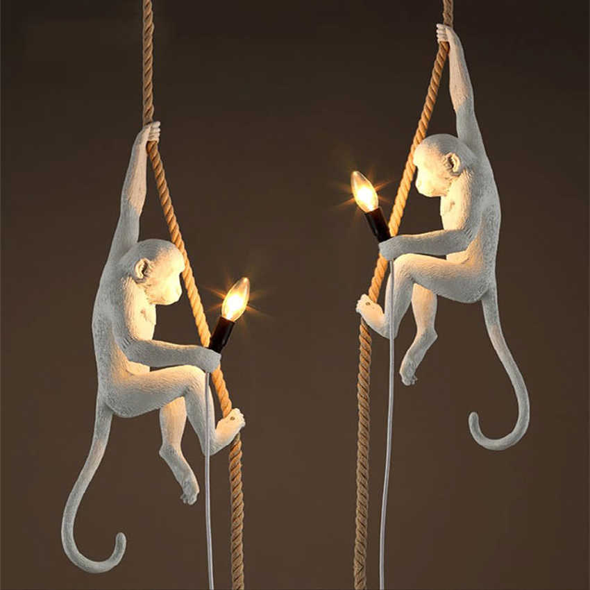 Скандинавские фигурки обезьян из мастики лампа Led подвесной светильник гостиная ресторан лампа для спальни Кухонные светильники подвеска 7 цветов