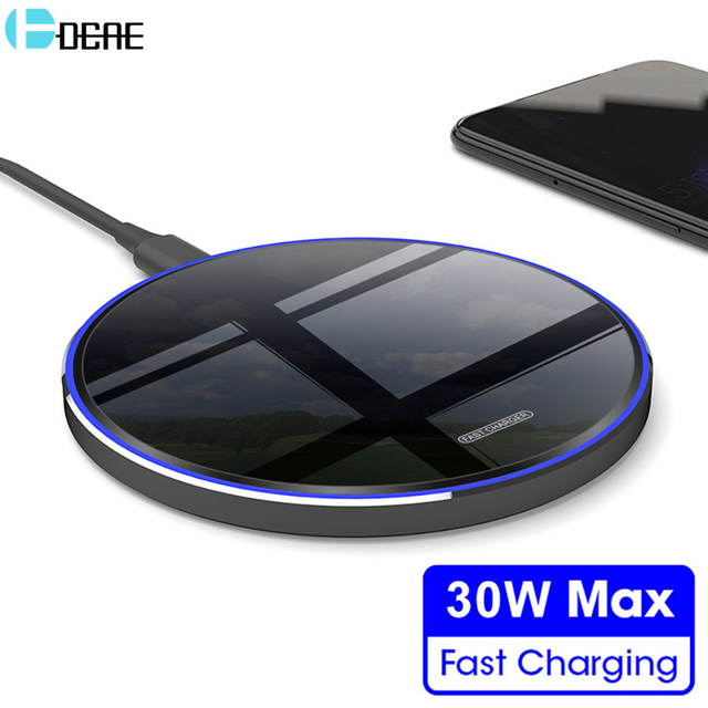 DCAE 30W Qi Wireless Charger for iPhone 12 11 Pro Max Mini X XS 8 XR Type C Fast Charging Pad For Samsung Note 20 10 S20 S10 S9