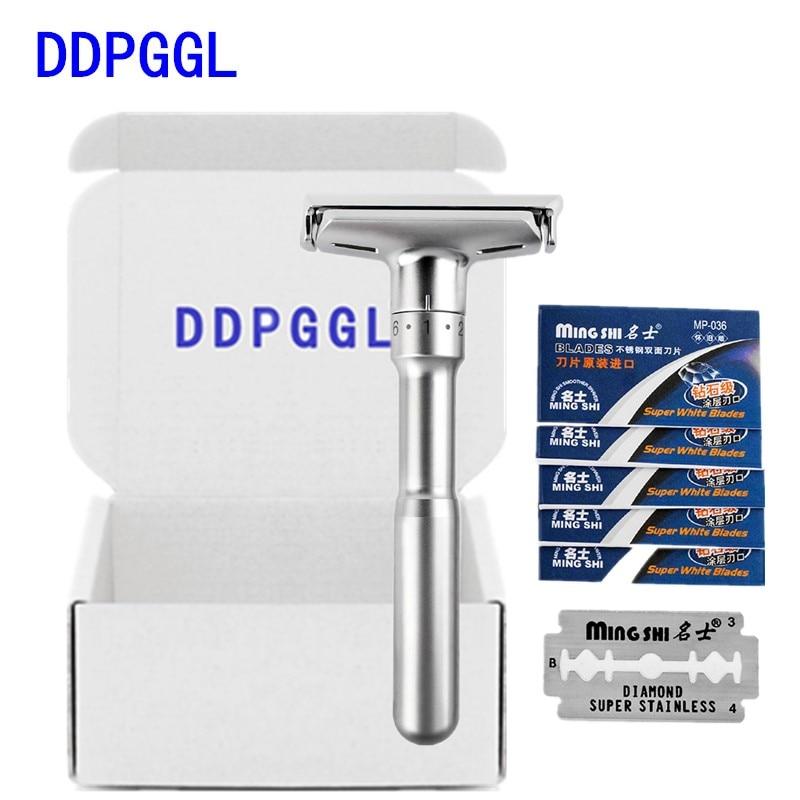 DDPGGL Men Shaver Razor Adjustable Safety Double Shaver Razor Classic Safety Razor Mingshi Shaver Razor Blades With 5 Blades