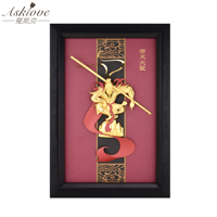 3D Monkey king Pictures Gold Foil painting Handicraft Framed Painting Sun Wukong Wall pictures for Living Room Home Decor Gifts