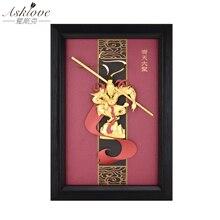 3D Monkey king zdjęcia złota folia malowanie rękodzieło oprawiony obraz słońce Wukong zdjęcia ścienny do salonu dekoracje do domu na prezent