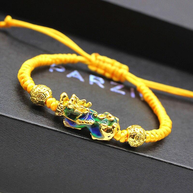 Плетеный браслет Pixiu меняющий цвет при температуре счастливый воин сила пиксиу Плетеный веревочный Энергетический Браслет и браслет для му...