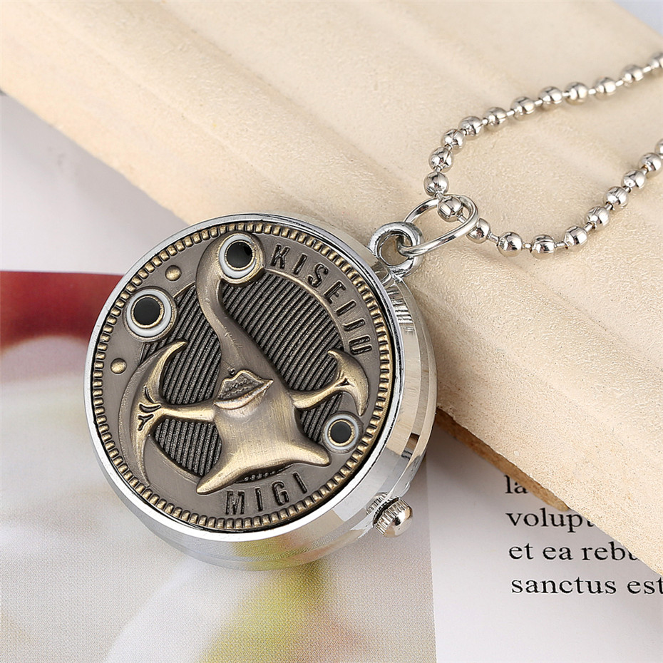 Rotatable Parasite Theme Design Cover Pendant Necklace Watch Quartz Movement Children Pocket Watches With Silver Chain