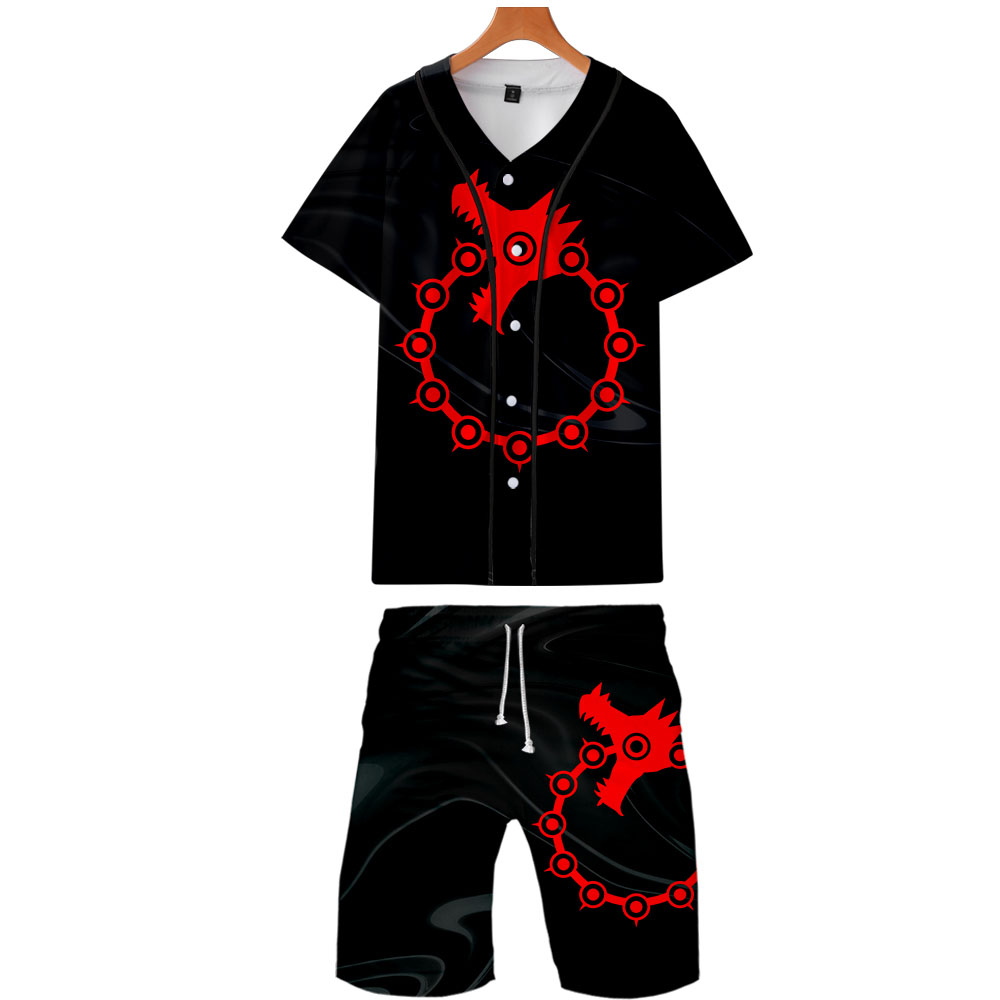 2019 The Seven Deadly Sins Two Piece Set Jackets And Shorts Kpop Fashion New Cool Print Baseball Jacket Set For Men Streetwear