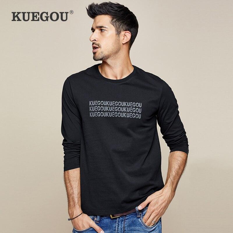 【Kuegou】men's Long Sleeve T-shirt Fashion Leisure Letter T-shirt Cotton Round Collar Render Unlined Upper Garment ZT-7756