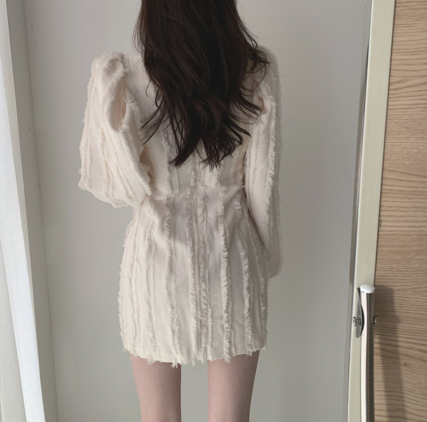 H9f42a74287524b9ea36acad1415548793 - Autumn Square Collar Puff Sleeves Tassel Solid Mini Dress