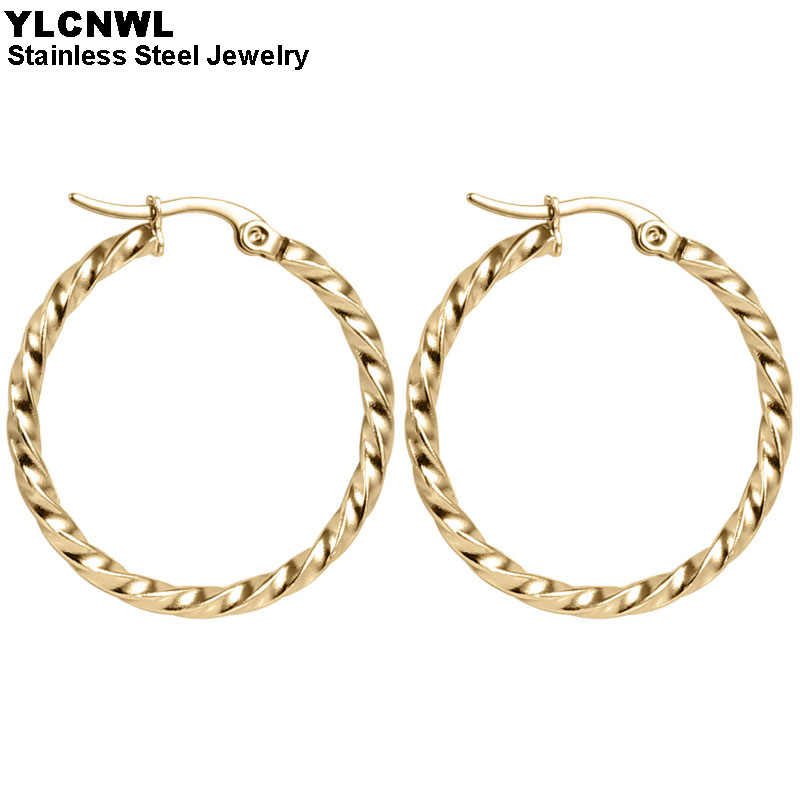 Women/'s Stainless Steel Twisted Round Circle Hoop Dangle Earrings Gift 15-45MM