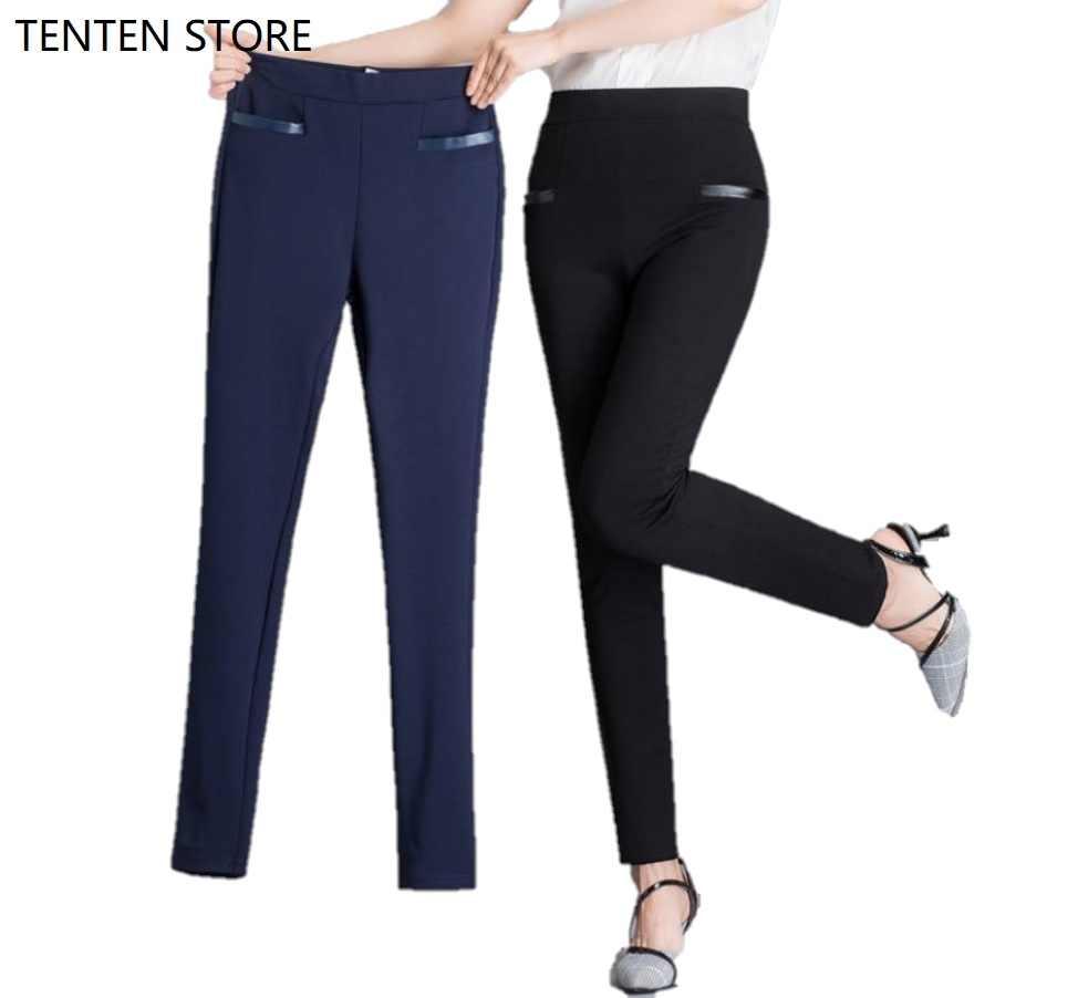 Kadınlar yüksek bel pantolon kadın push up pantolon kadın dar pantolon bayanlar tam uzunlukta streç rahat ofis pantolon cepler ile