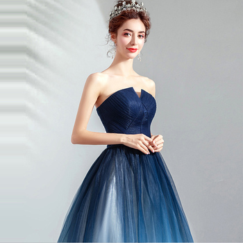 It's YiiYa Prom Gowns Blue Sleeveless Strapless A-Line Floor Length Long Party Dress Custom Plus Size Prom Dresses 2019 E263 6