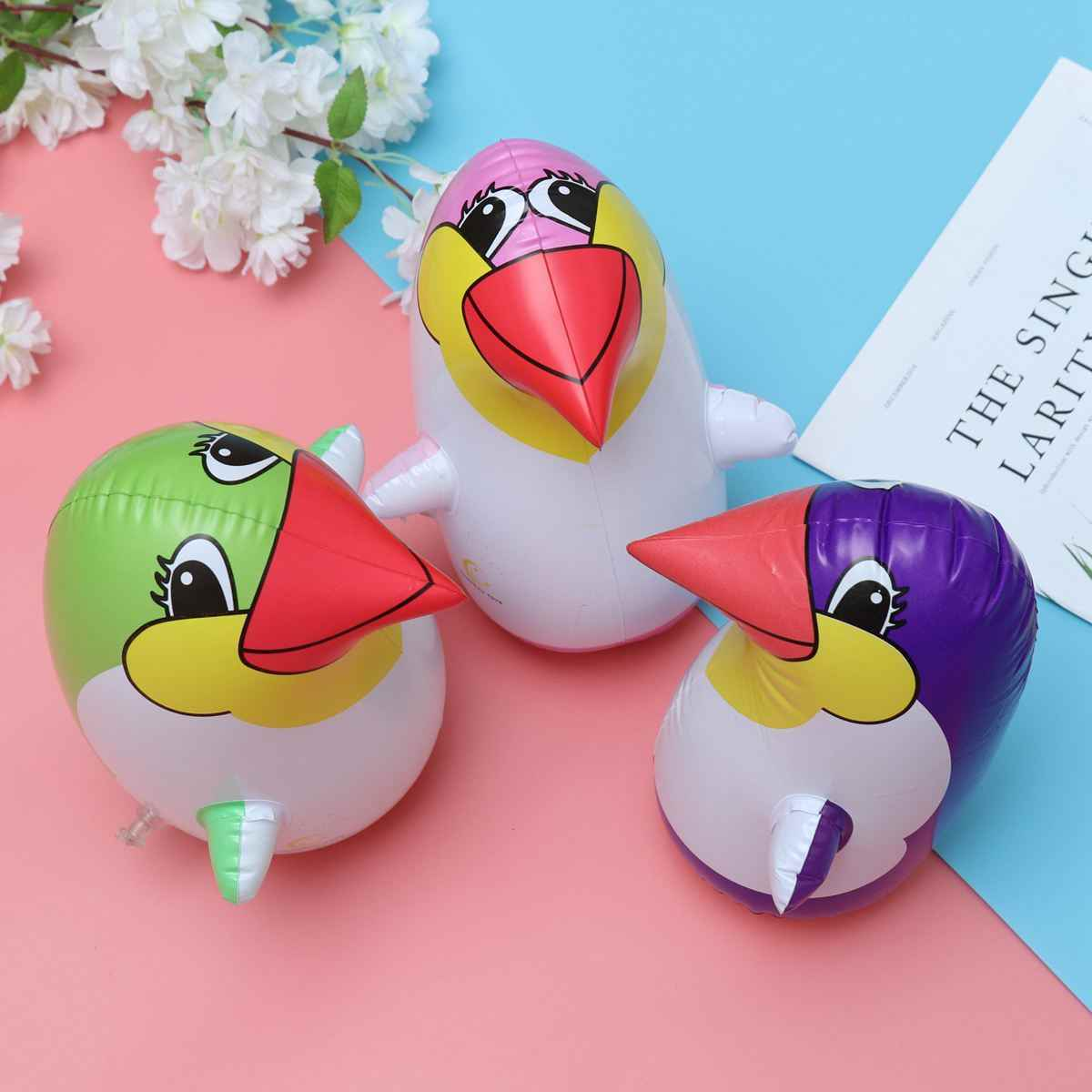3pcs 22cm de Pancadas Inflável Brinquedo Lifelike Explodir PVC Colorido Pinguim de Brinquedo Acessório Do Partido Para Crianças dos miúdos (cor aleatória)