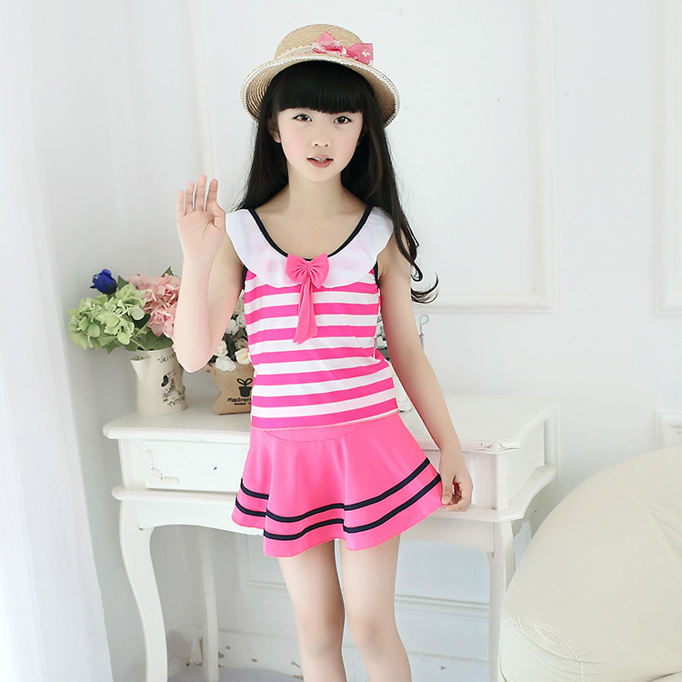 Drop Love For Water New Style Navy Style KID'S Swimwear Stripes Bow One-piece GIRL'S Swimsuit