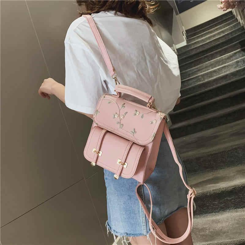 2020 حقيبة المدرسة في سن المراهقة عالية الجودة جلد النساء حقيبة كتف على ظهره الأزهار التطريز تصميم حقيبة الظهر