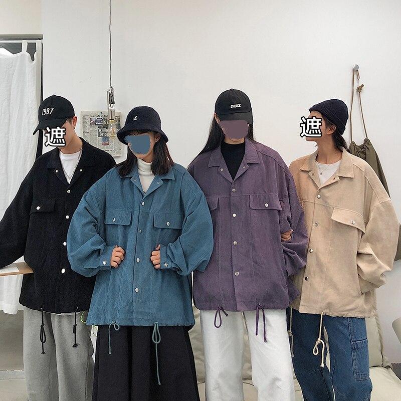 Corduroy Jacket Men's Fashion Solid Color Retro Casual Couple Corduroy Jacket Streetwear Wild Hip Hop Loose Bomber Jacket Men