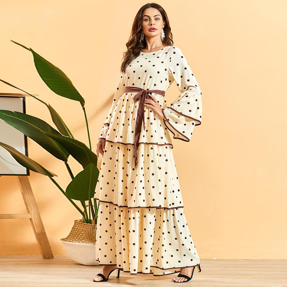 Plus Size Polka Dot Abaya Dubai Hijab Muslim Maxi Dress Caftan Kaftan Turkish Dresses Jilbab Islamic Clothing Abayas For Women