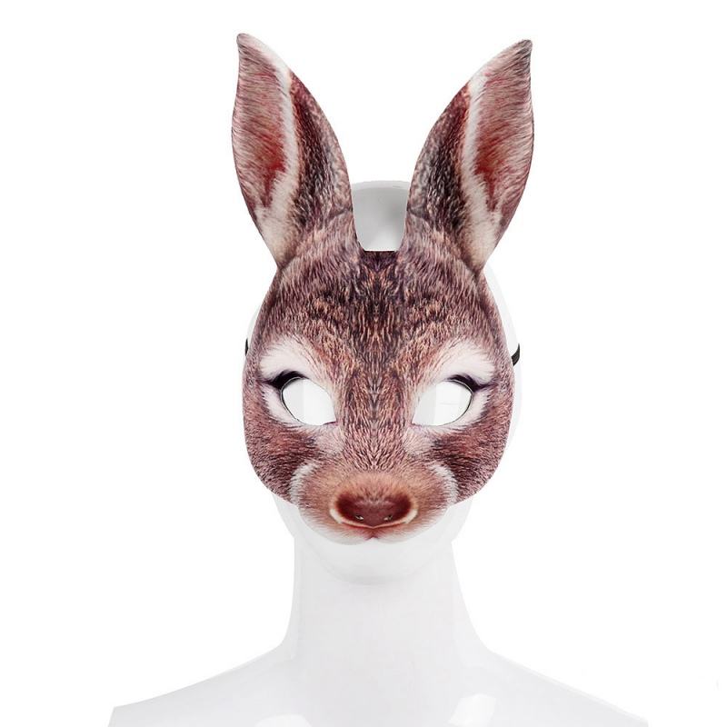 Halloween 3D Party Bunny Ears Rabbit Mask Animal EVA Black And White Adult Anime Face Cosplay Masquerade Cosplay Costume