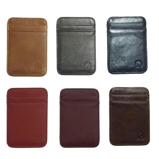 Fashion 100% Genuine Leather Thin Bank Credit Card Case Mini Card Wallet Men Bus Card Holder Cash Change Pack Business ID Pocket 2