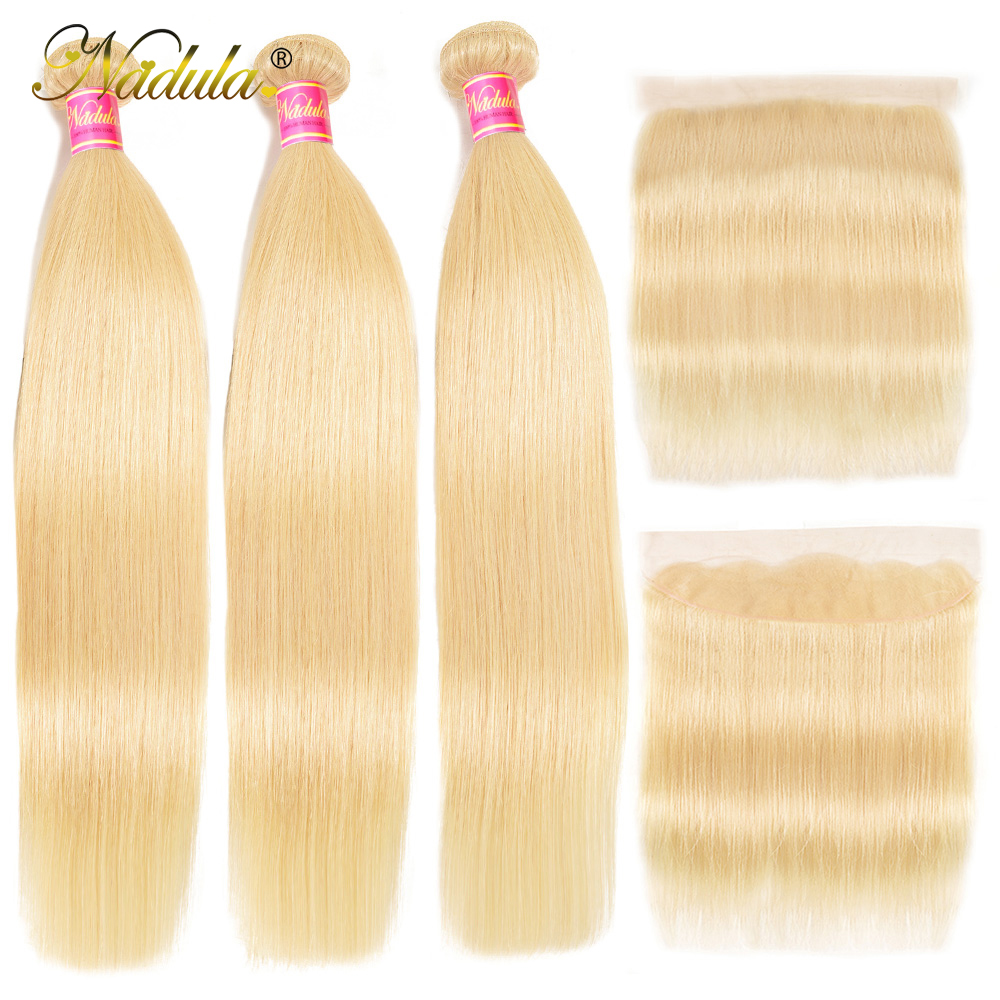 Nadula Hair 613 Blonde Bundles With Frontal 3 Bundles Straight Hair With Closure 13*4 Lace Frontal With Bundles Remy Hair