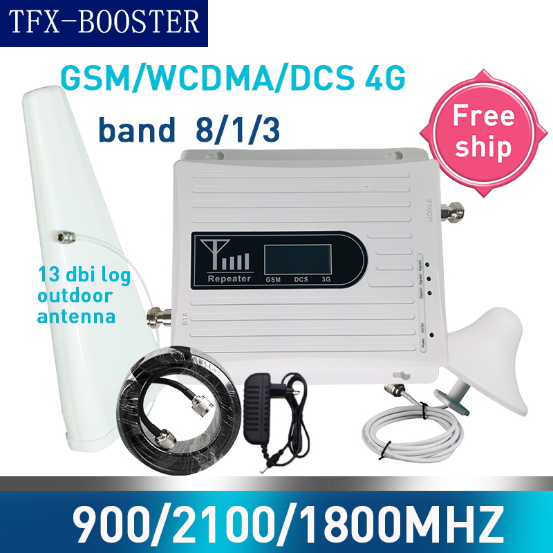 TFX-BOOSTER 13dbi Log Antenna 900 1800 2100 Tri-Band Booster 2G 3G 4G LTE 1800 Cellular Signal Amplifier 70db Signal Repeater