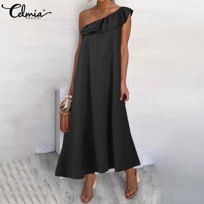 Sexy Off Shoulder Zomer Maxi Jurk Celmia Vrouwen Bohemian Zonnejurk Vrouwelijke Toevallige Losse Solid Ruches Lange Vestidos Party Robe