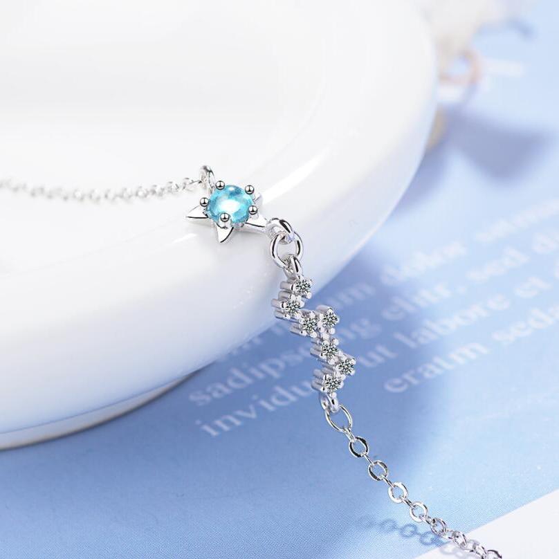 Chain Female Jewelry Blue Crystal Rhinestone Bangle Pentagonal Bracelet Star