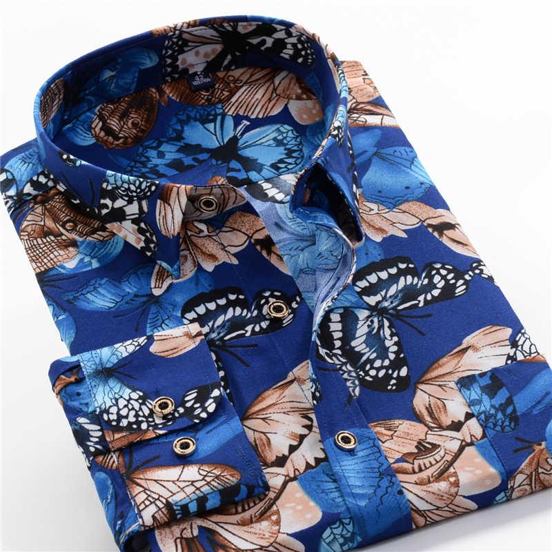 2020 autunno dei Nuovi Uomini di Camicia Fiore Casual Sciolti a maniche lunghe Hawaii Camicette Maschio Vestiti di Marca Più Il Formato 5XL 6XL 7XL 8XL 9XL 10XL
