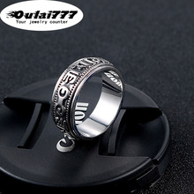 oulai777 wholesale stainless steel Buddhism Sanskrit ring mens rings vintage dainty silver punk male fashion jewelry 2019